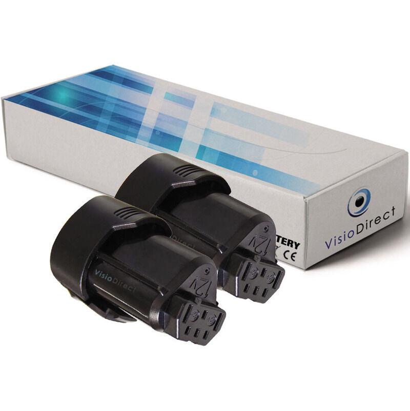 Visiodirect - Lot de 2 batteries pour AEG BS12C visseuse sans fil 2000mAh 12V