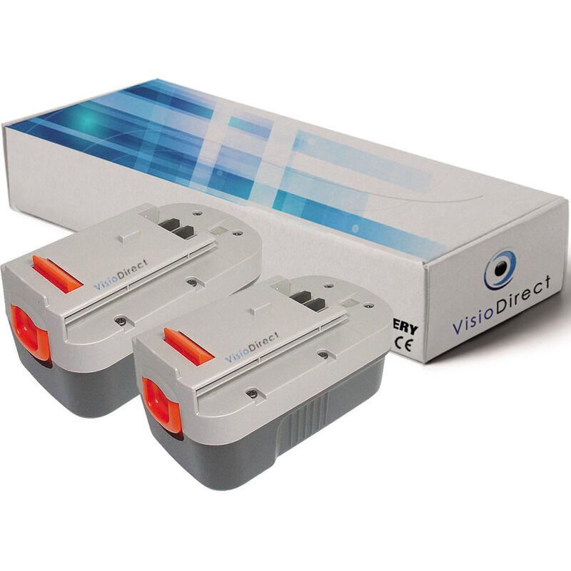 VISIODIRECT Lot de 2 batteries pour Black et Decker Firestorm GWC1800L/LB souffleur sans