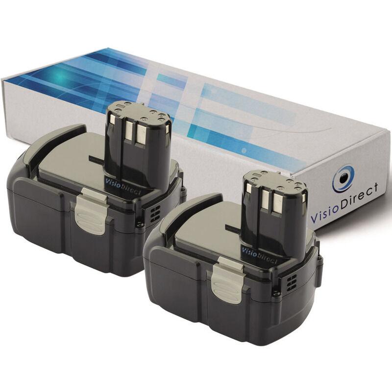 VISIODIRECT Lot de 2 batteries pour Hitachi CJ14DL scie sauteuse 2000mAh 14.4V