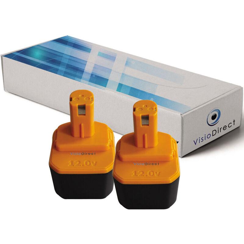 Visiodirect - Lot de 2 batteries pour Ryobi HP1201M perceuse visseuse 3300mAh