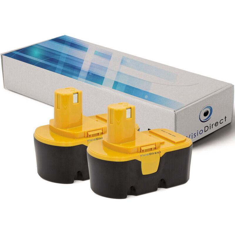 VISIODIRECT Lot de 2 batteries pour Ryobi R10631 scie circulaire sans fil 3000mAh 18V