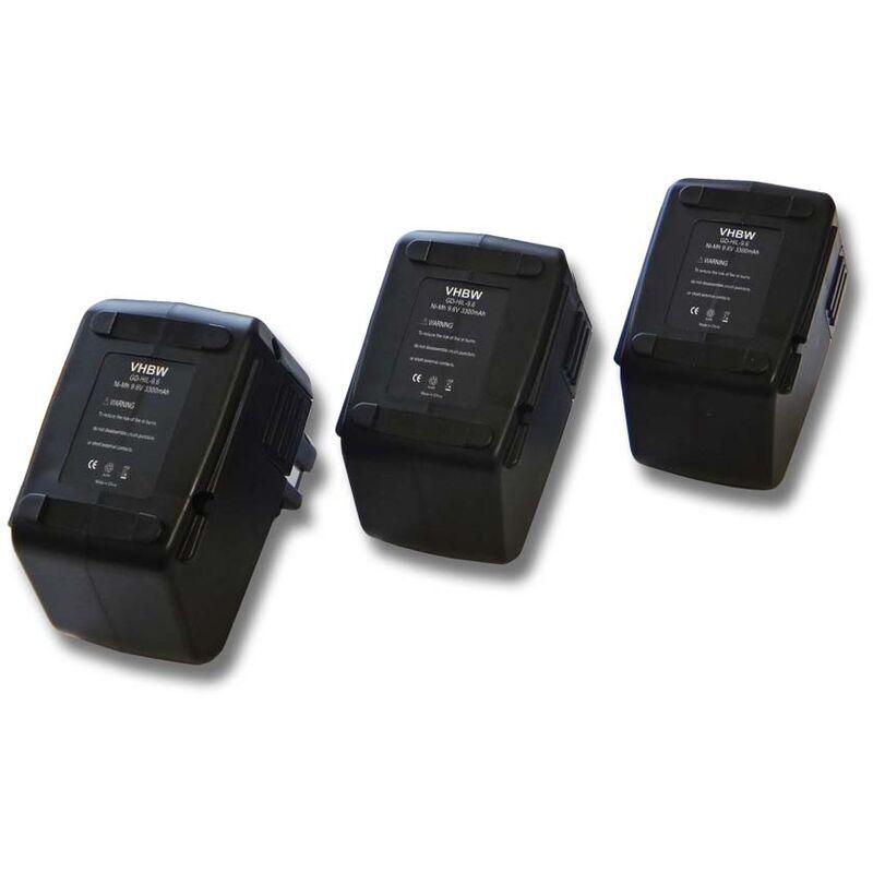 VHBW Lot de 3 batteries Ni-MH 3300mAh (9.6V) pour outils Hilti SB10, Hilti BD2000.