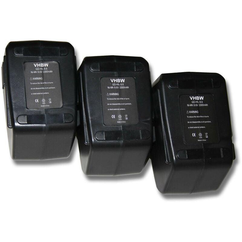 VHBW Lot de 3 batteries Ni-MH 3300mAh (9.6V) pour outils Hilti SB10. Remplace :
