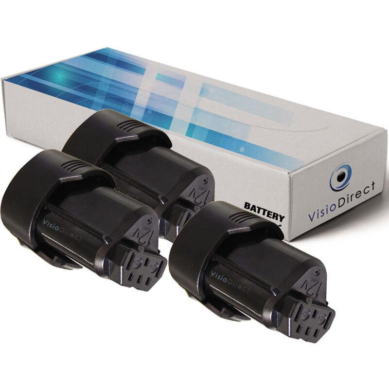 Visiodirect - Lot de 3 batteries pour AEG BSS12C visseuse sans fil 2000mAh 12V