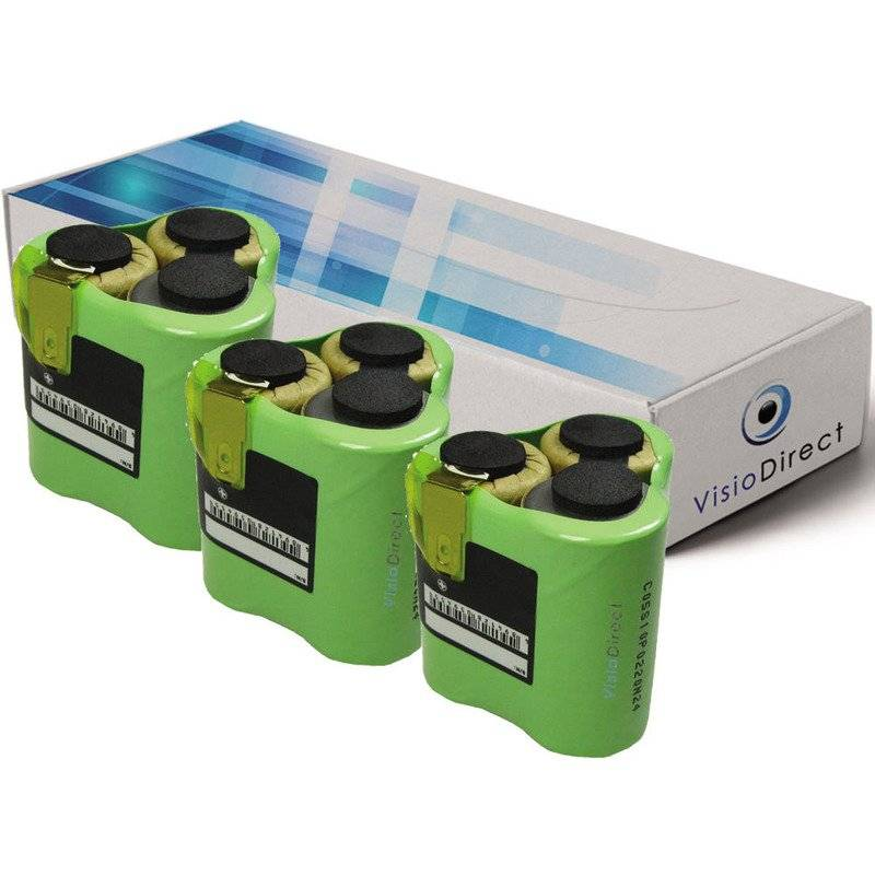 VISIODIRECT Lot de 3 batteries pour AEG Liliput AG1413 aspirateur sans fil 3000mAh 3.6V