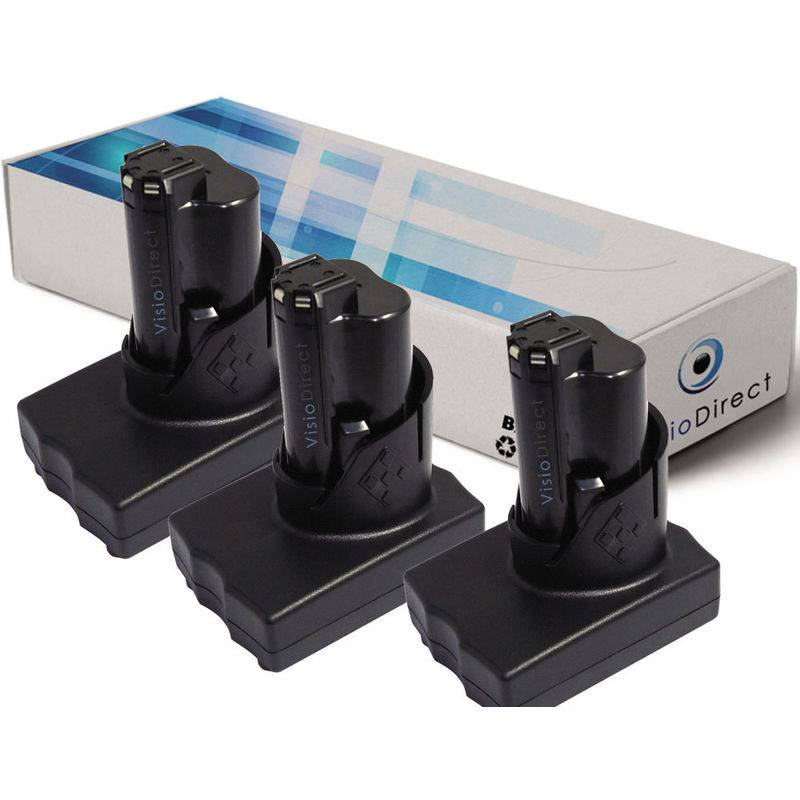 Visiodirect - Lot de 3 batteries pour AEG Milwaukee C12 PPC C12 WS M12 M12 IR