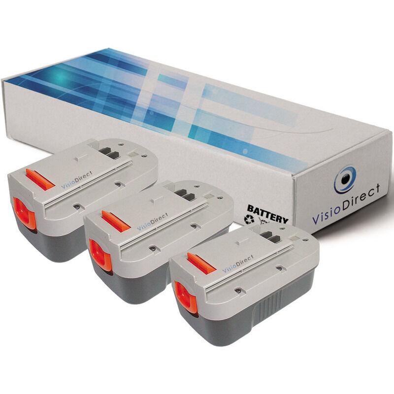 VISIODIRECT Lot de 3 batteries pour Black et Decker Firestorm HT518 taille-haies 3000mAh 18V