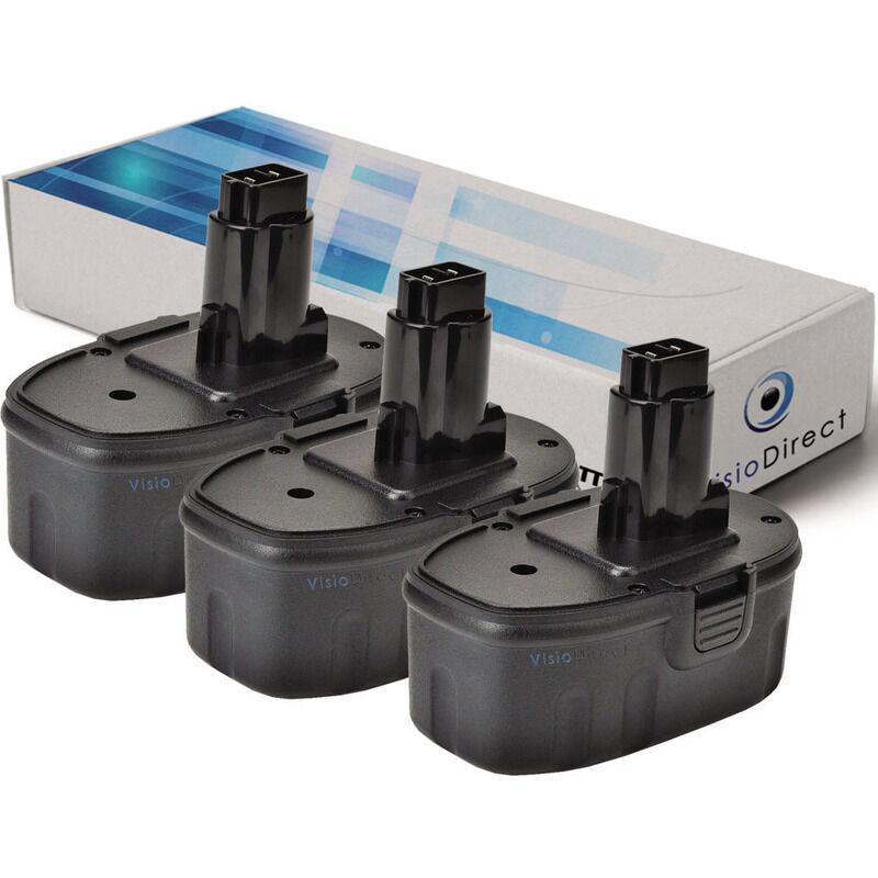 VISIODIRECT Lot de 3 batteries pour Black et Decker FSL18 lampe torche 3000mAh 18V