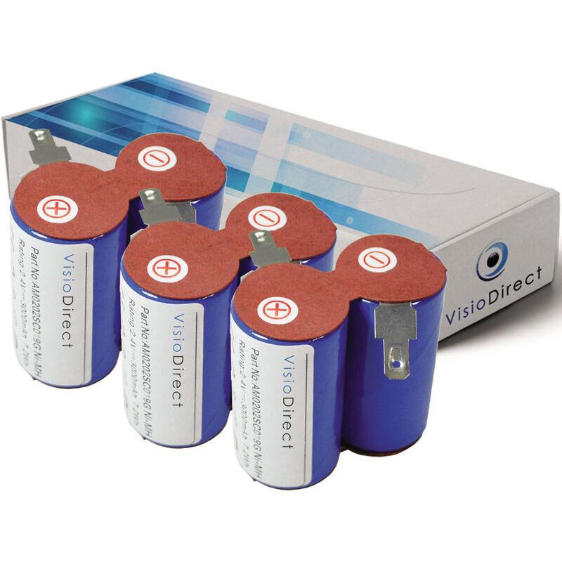 VISIODIRECT Lot de 3 batteries pour Black et Decker HC411 aspirateur sans fil 3000mAh 2.4V