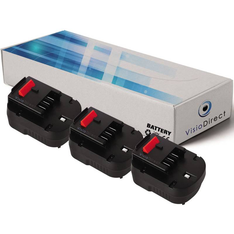 VISIODIRECT Lot de 3 batteries pour Black et Decker HP126FBH perceuse visseuse 3000mAh 12V
