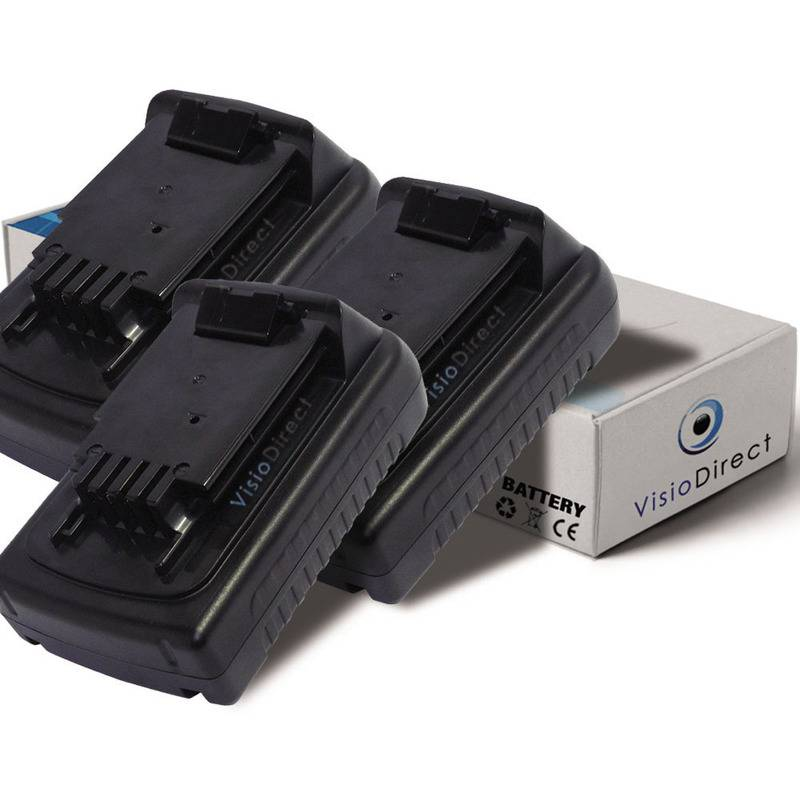 VISIODIRECT Lot de 3 batteries pour Black et Decker LSW20 balayeuse autoportée 1500mAh 18V