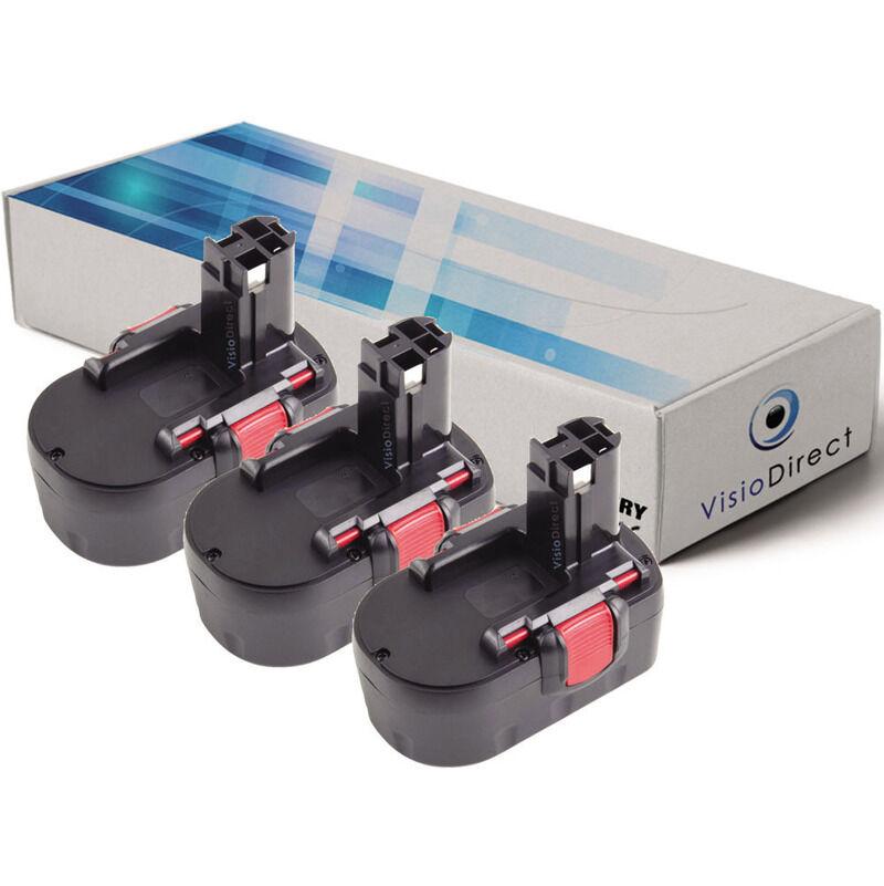 Visiodirect - Lot de 3 batteries pour Bosch ART 26 coupe bordures 3000mAh 14.4V