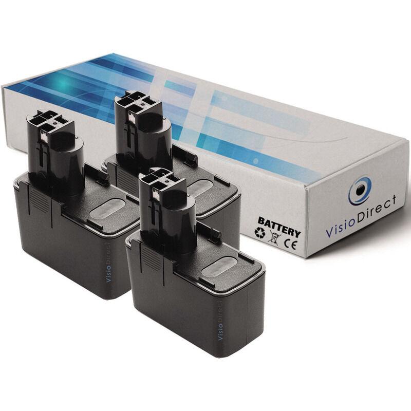 Visiodirect - Lot de 3 batteries pour Bosch ASG 52 coupe-branche 3000mAh 12V