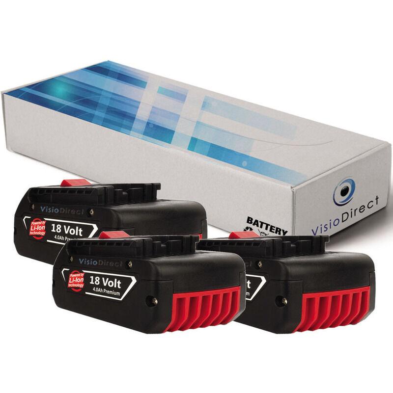 VISIODIRECT Lot de 3 batteries pour Bosch GSR 18-2-LI perceuse visseuse 4000mAh 18V