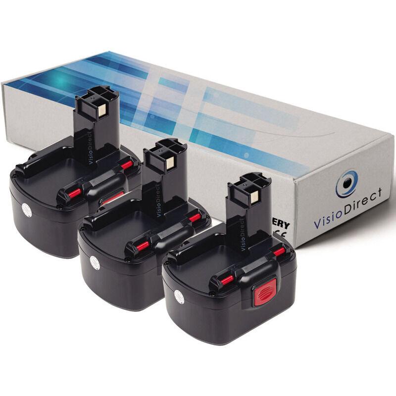 Visiodirect - Lot de 3 batteries pour Bosch PSR12 perceuse visseuse 3000mAh 12V