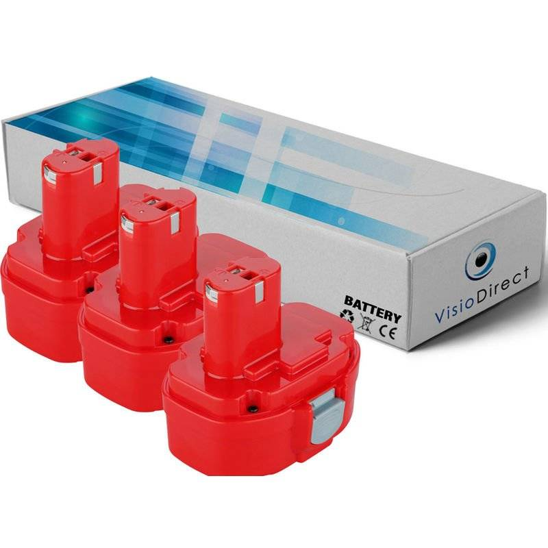 Visiodirect - Lot de 3 batteries pour MAKITA 1051DWAE Rabot éléctrique 14.4V