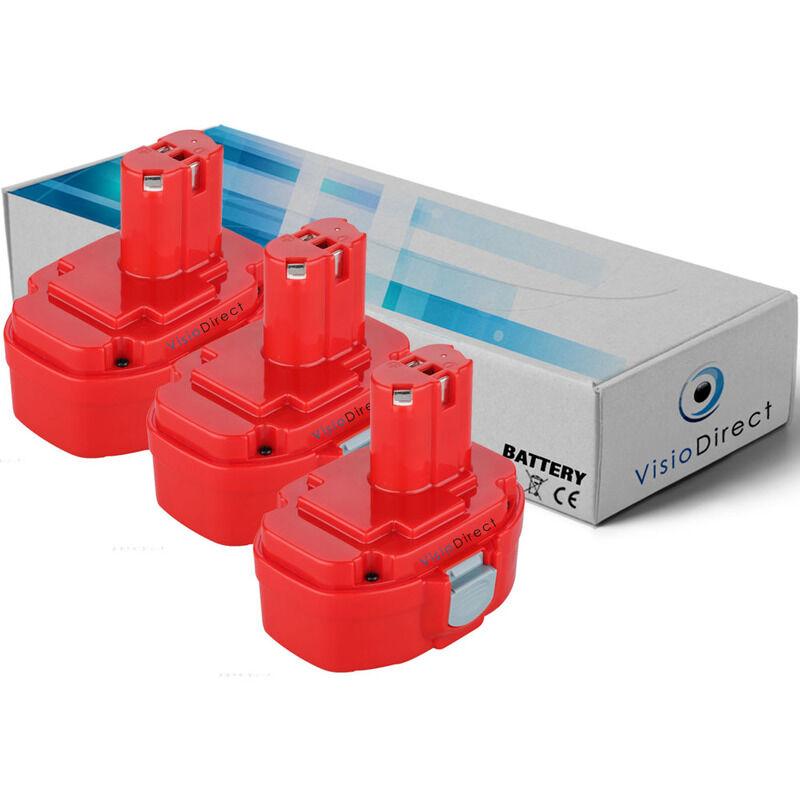 VISIODIRECT Lot de 3 batteries pour Makita 4334DWAE scie sauteuse 3000mAh 18V
