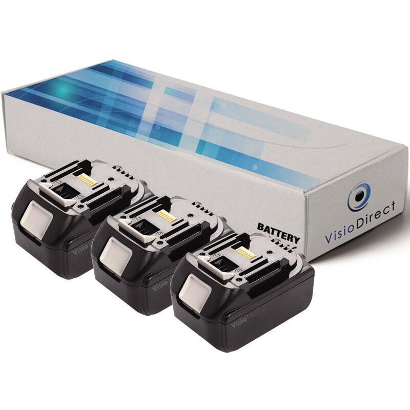 Visiodirect - Lot de 3 batteries pour Makita XVJ03Z scie sauteuse 3000mAh 18V