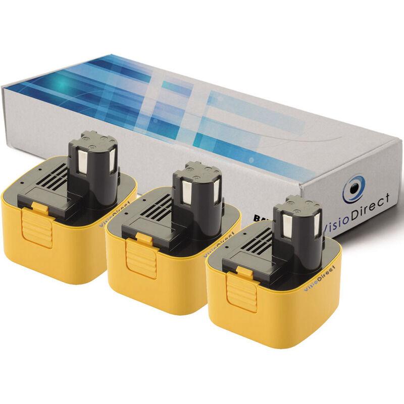VISIODIRECT Lot de 3 batteries pour Panasonic EY3550DQG scie circulaire 3300mAh 12V