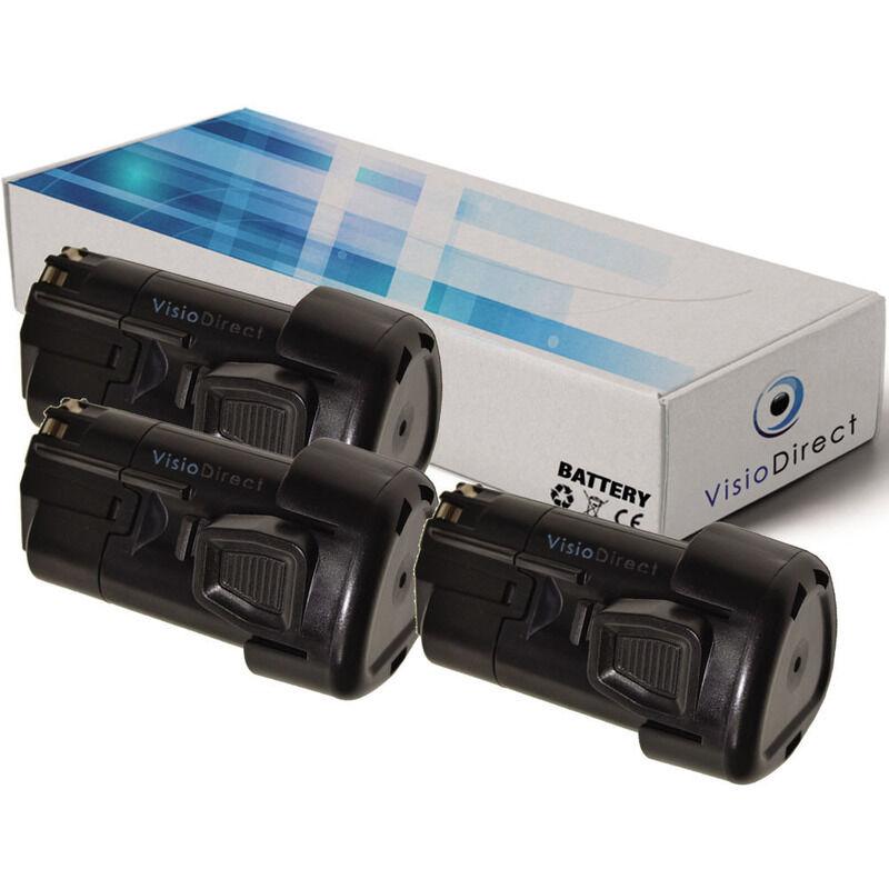 VISIODIRECT Lot de 3 batteries type LBX12 pour Black et Decker 1500mAh 10.8V