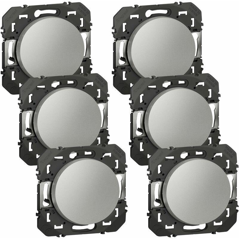 LEGRAND Lot de 6 Interrupteurs ou va-et-vient Dooxie - Aluminium - Composable - Legrand