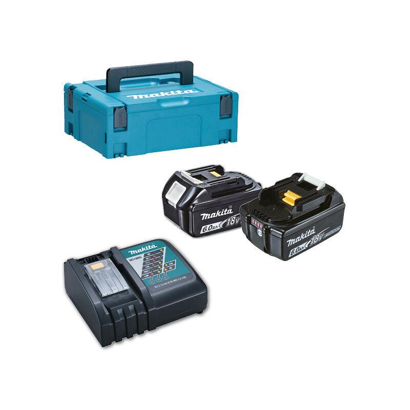 MAKITA Pack Énergie 18 V 6 Ah Li-Ion 2 batteries BL1860B + 1 chargeur + coffret MAKPAC
