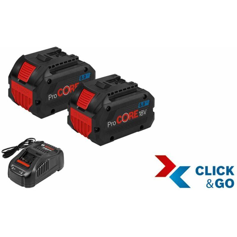 Bosch Set de base 2 batteries ProCORE18V 8.0Ah + 1 chargeur GAL 1880 CV