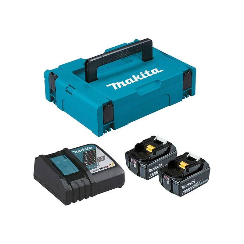 MAKITA Pack Énergie 18 V Li-Ion (2 batteries + 1 chargeur simple) avec coffret MAKPAC