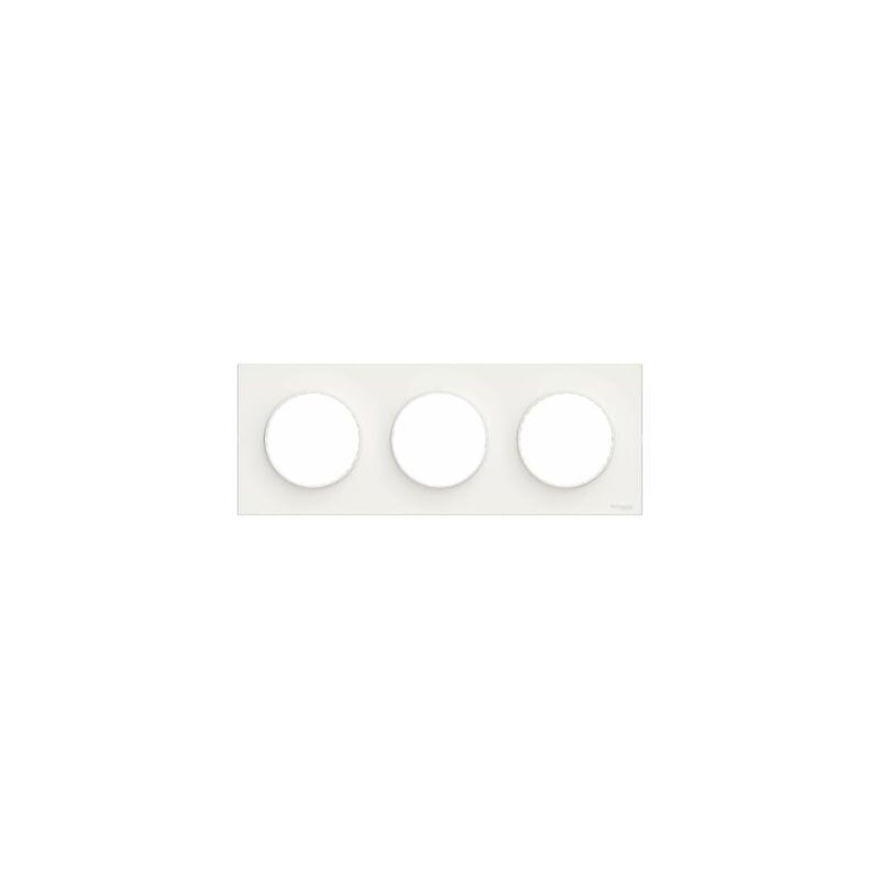 SCHNEIDER ELECTRIC Plaque Odace Styl - 3 postes - Horiz. ou vert. - Entraxe 71mm -Blanc