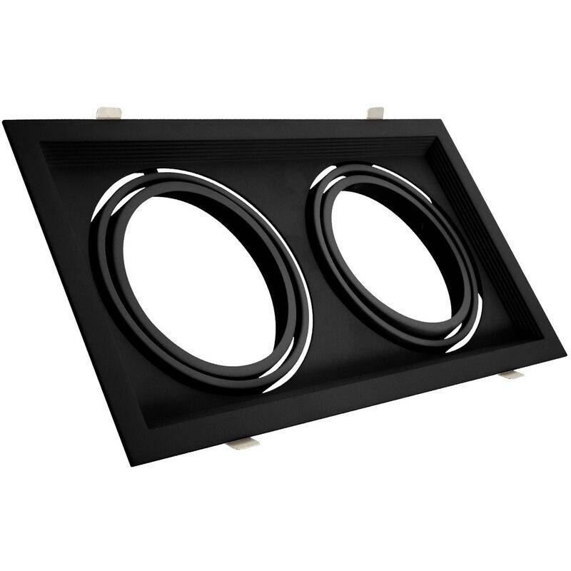 LEDKIA Support Spot Carré Orientable Aluminium pour 2 Ampoules LED AR111 Noir - Noir