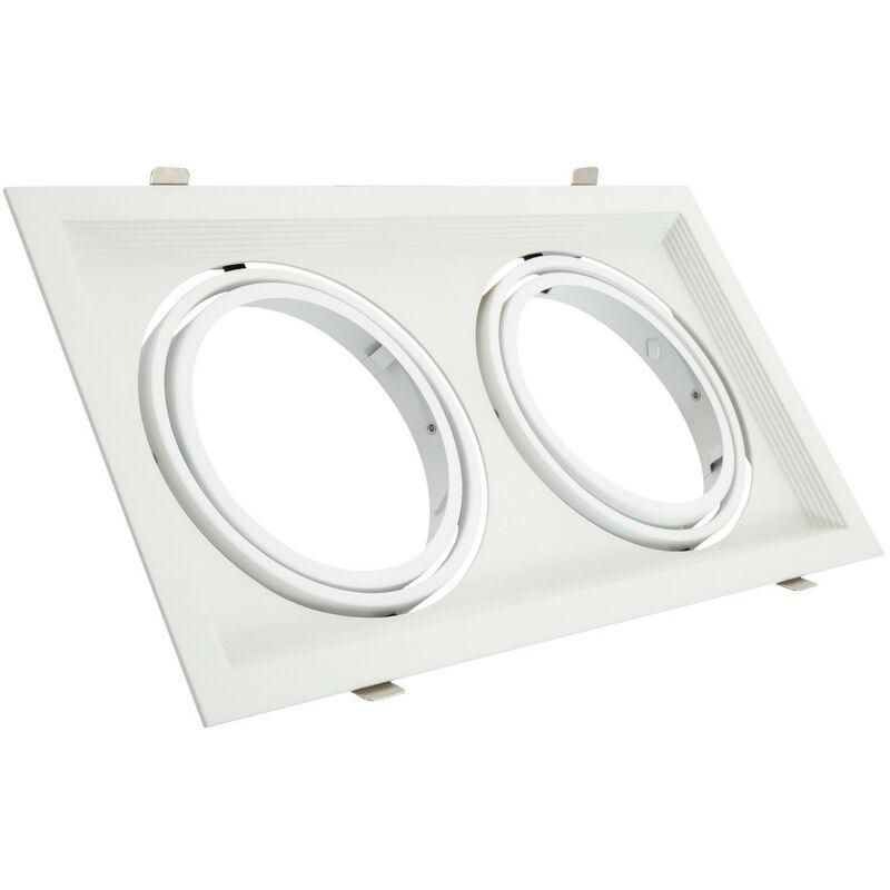 LEDKIA Support Spot Carré Orientable Aluminium pour 2 Ampoules LED AR111 Blanc - Blanc
