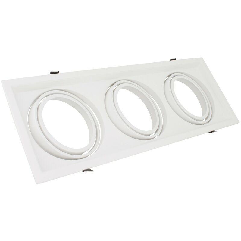 LEDKIA Support Spot Carré Orientable Aluminium pour 3 Ampoules LED AR111 Blanc - Blanc
