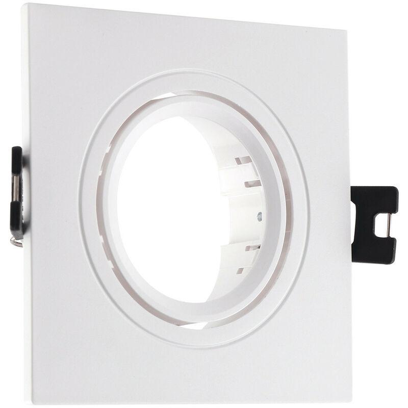 LEDKIA Support Spot Carré Orientable PC pour Ampoule LED GU10 / GU5.3 Blanc - Blanc