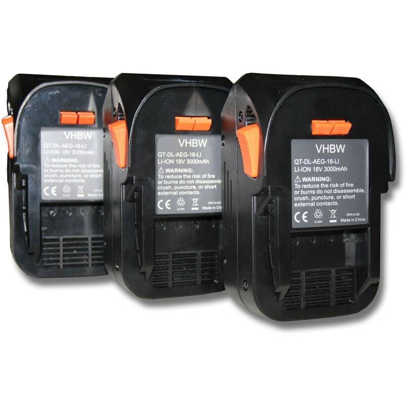 vhbw 3x Batterie compatible avec AEG BST 18X, BUS 18, BUS 18 X outil électrique
