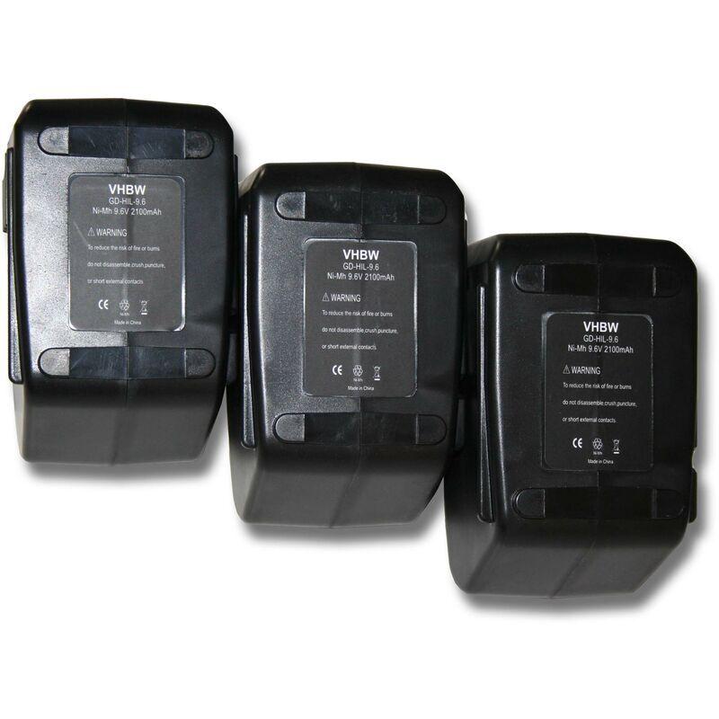 vhbw 3x Batterie Ni-MH 2100mAh (9.6V) pour outils Hilti SF100, SF100A, SFB105,