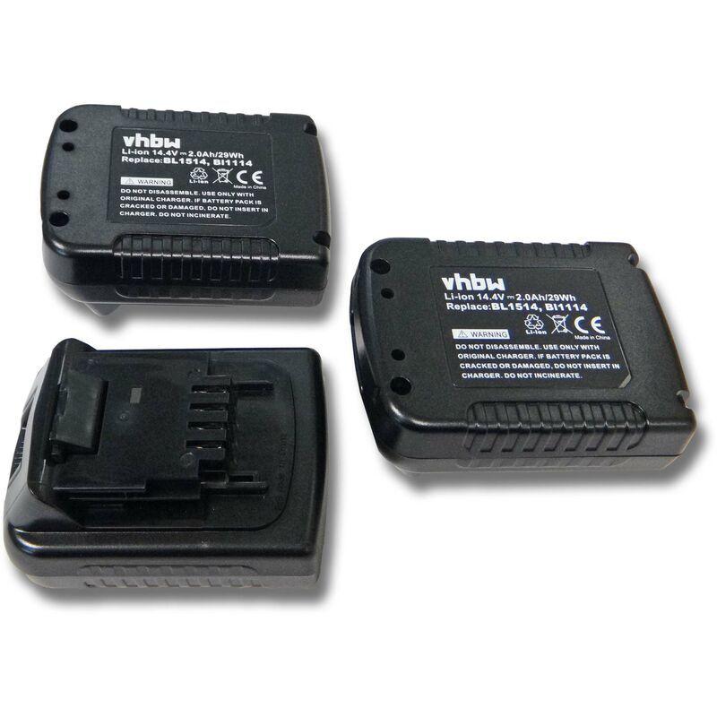 vhbw 3x Batteries Li-Ion 2000mAh (14.4V) pour outils Black & Decker ASL146,
