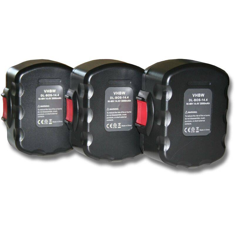 VHBW 3x batteries Ni-MH 3000mAh (14.4V) pour outils PDR 14.4V, N, PKS 14.4V, PSB 14,