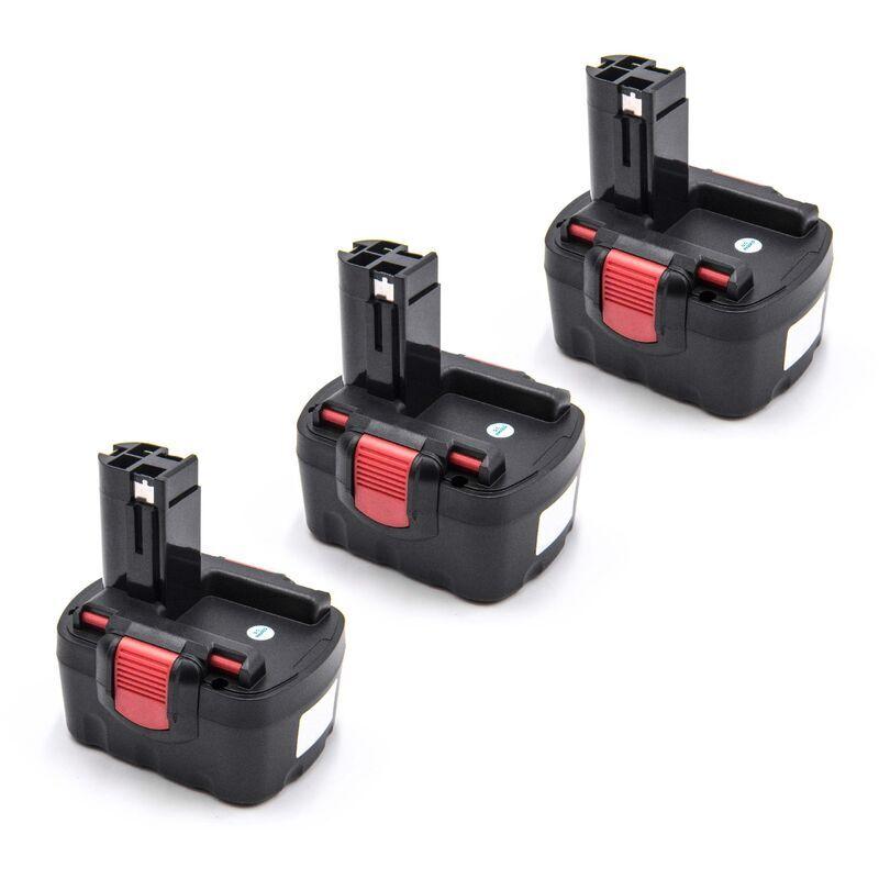 VHBW 3x Ni-MH Batterie 1500mAh (14.4V) pour outils Bosch 13614, 13614-2G, 15614,