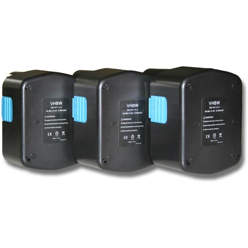 vhbw 3x Ni-MH batteries 2100mAh (14.4V) pour outil Hitachi C-2, CJ 14DL, D