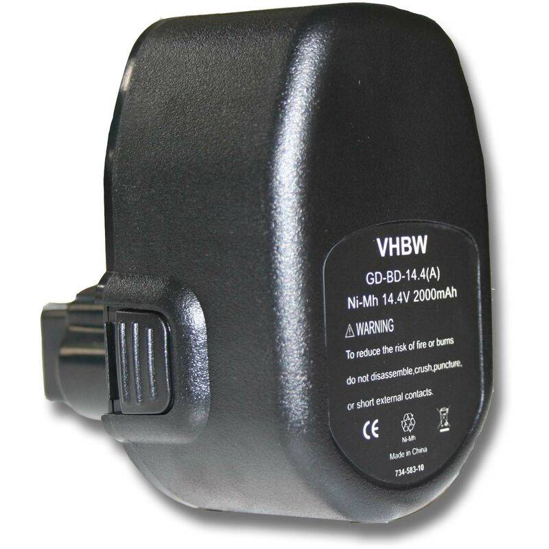 vhbw Batterie 2000mAh (14.4V) pr outil Black & Decker CD14 CD140GK, CD632K,