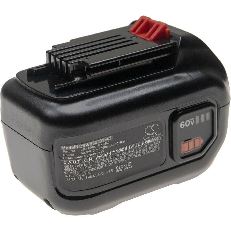 vhbw Batterie compatible avec Black & Decker 60V MAX Blower, 60V MAX POWERSWAP