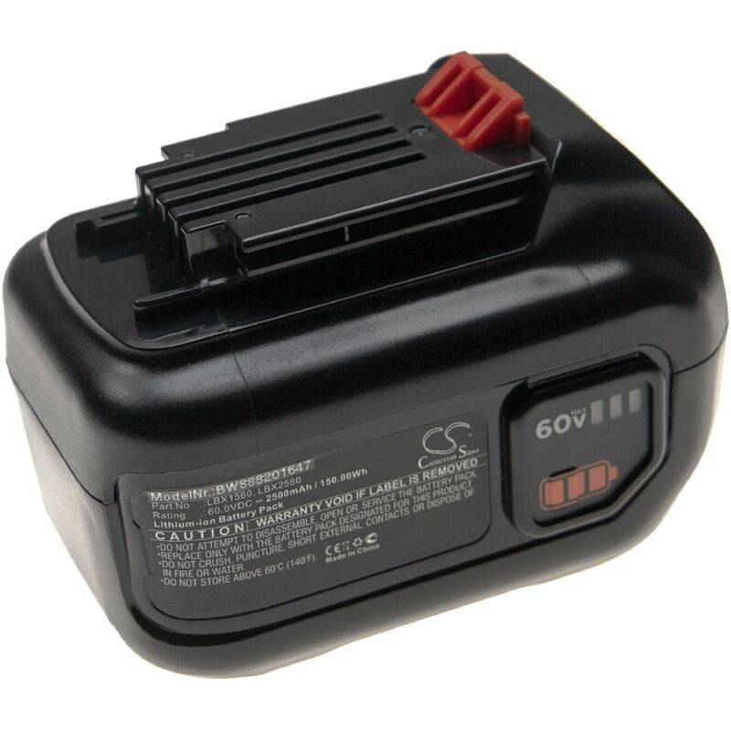 vhbw Batterie compatible avec Black & Decker LHT360CFF 60V MAX Hedge Trimmer,