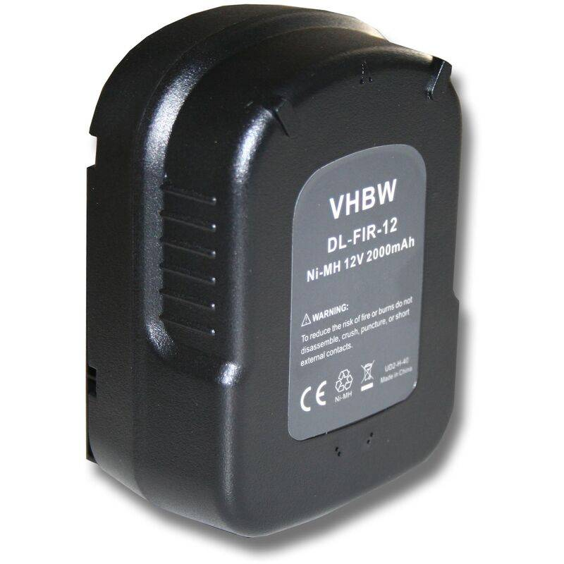 vhbw Batterie Ni-MH 2000mAh (12V) outils électriques Black & Decker XTC12IK,