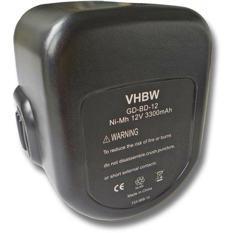 vhbw Batterie NiMH 3000mAh (12V) pour outil Black & Decker PS1200K, PS350,