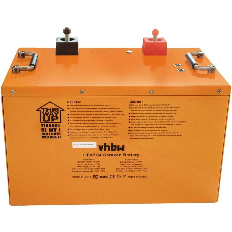 vhbw Batterie pour caravane, bateau, camping, camping car (240Ah, 12.8V,