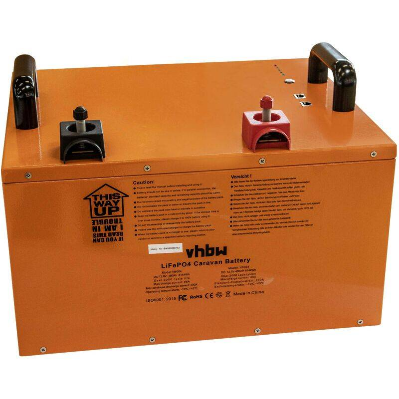 vhbw Batterie pour caravane, bateau, camping, camping car (480Ah, 12.8V,
