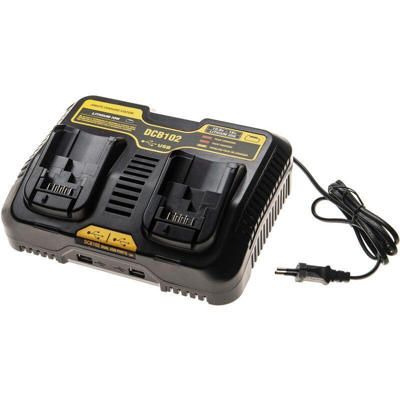 vhbw Double Chargeur compatible avec Dewalt DCG412L2, DCS331B, DCS331L1,