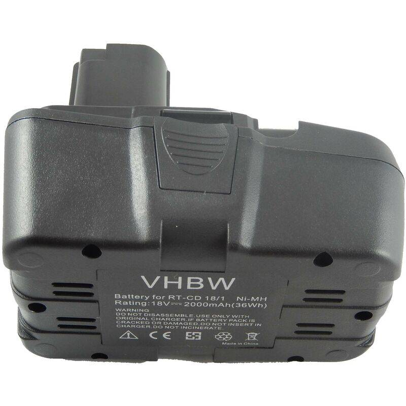 vhbw NiMH Batterie 2000mAh (18V) pour outils Einhell RT-CD18/1 comme RT-CD18/1.