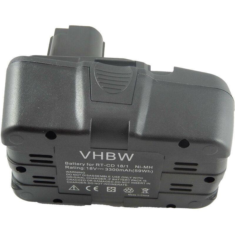 vhbw NiMH Batterie 3300mAh (18V) pour outils Einhell RT-CD18/1 comme RT-CD18/1.
