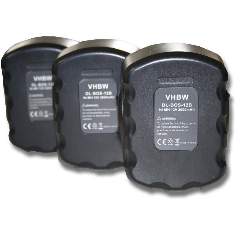 vhbwlot de 3 batteries Ni-MH pour outils GSR 12 VE-2, JAN-55, PSB 12 VE-2, PSR